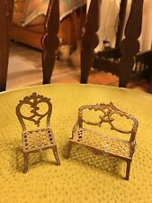 VINTAGE DOLLHOUSE FILIGREE SOFA AND CHAIR...marked france