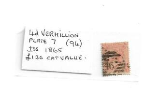Queen Victoria 4 Penny Vermilion Stamp - Plate 7 Issued 1865 - £130 Cat Value