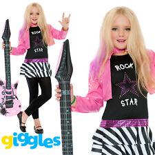 Girls Rockstar Popstar Costume Rocker Children Pink Fancy Dress Costume Outfit