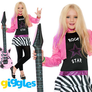 Girls Rockstar Popstar Costume Rocker Children Pink Fancy Dress Costume Outfit