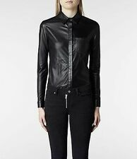 """ALLSAINTS"" WOMAN'S BLK LEATHER ""ARGYLE"" Button Shirt SZ ""8"" (US)"