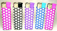 5 x DOTS Lighters Soft Glitter Pink Black Blue++ Refilable Soft Flame Ajust New