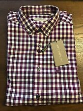 New Authentic Burberry Small Purple Check Plaid Knight Chest Men Shirt XL $225