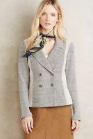 Saturday Sunday Anthropologie Milica Tweed Knit Jacket Size L Gray Blazer