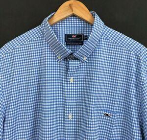 VINEYARD VINES Men's Performance Blue Check SS Classic Fit Tucker Shirt sz 2XL
