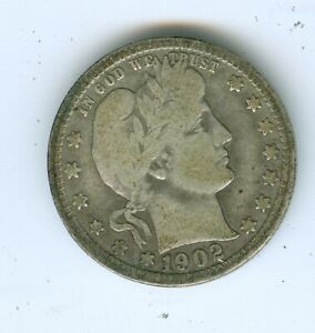 1902-P BARBER QUARTER--CIRCULATED--PARTS OF ALL LETTERS OF LIBERTY ARE VISIBLE