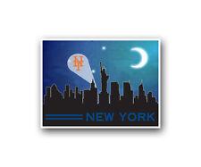"New York Mets Poster City Skyline Art Print Man Cave Decor 12x16"""