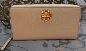 Tory Burch ~ Pebbled Leather CARSON ZIP CONTINENTAL Wallet ~TAN~SAND~NWT $228