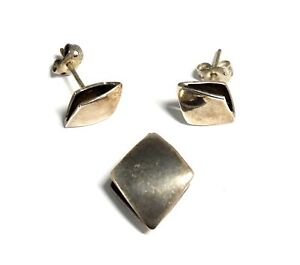 925 STERLING SILVER Diamond Shape Earring & Pendant Set, 5.30g - F25