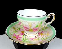 """TUSCAN ENGLAND #C7602 PINK FLORAL GREEN BORDER 2 1/4"""" DEMITASSE CUP AND SAUCER"""