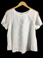 Madewell Embroidered Lattice Top White Wash Women's Size Small