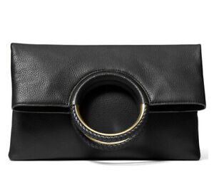 ❤️ Michael Kors Rosie Large Leather Black/Gold Foldover Ring Clutch