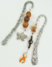 #5265- ORANGE AWARENESS RIBBON BUTTERFLY CHARMS BEADED BOOKMARK SET OF 2