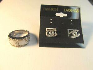 Coco Chanel? earrings/pearl silver ring lot  pretty!