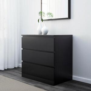 IKEA Dresser With 3 Drawers, Black-Brown, 80x78 CM, Storage, Wardrobe
