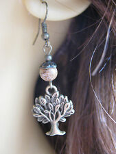 Bronze Tree of Life Earrings Picture Jasper Gemstone Beads  Pagan
