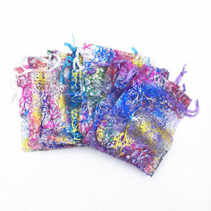 100-500pcs Coralline Organza Jewellry Pouch Wedding Party Candy Gift Bags UK