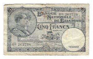 Belgium - 5 Francs 1938 (1988) !!Print Error!!