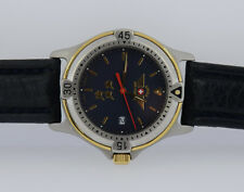 MENS SWISS ARMY AIR FORCE WATCH SSTEEL & GOLD 2TONE BLACK DIAL LEATHER BAND 38MM