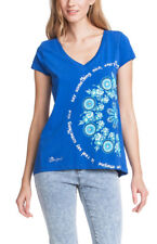 BNWT Desigual Empire Printed V-Neck Short sleeve T-Shirt XS Blue ORGU 51T25H5 S