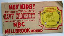 Unusual Ballard of Davy Crockett NBC/Millbrook bread end labels store display