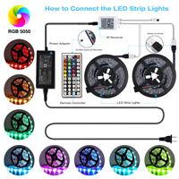 5/10M LED Strip Light 3528 5050 SMD RGB 300Leds Flexible 12V 44Key IR Controller
