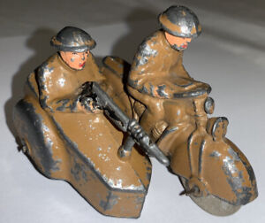 Motorcycle W Sidecar And Machine Gun Barclay Manoil Hubley Harley Indian ? WWI