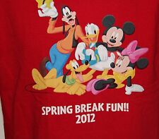 Walt Disney World 2012 Spring Break Men's Red T Shirt Size Med-Mickey, Goofey