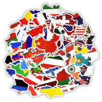 50Pcs National Flags Stickers Countries Map Travel Sticker DIY Suitcase Luggage