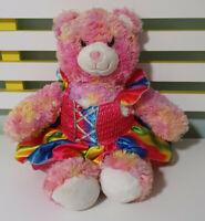 Build-A-Bear TEDDY BEAR BAB Soft Plush Toy 40cm Tall! PINK BEAR RAINBOW DRESS