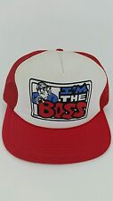 "Vintage ""I'm The Boss"" One Size Adult Snap Back Mesh Red Trucker Hat Hipster"