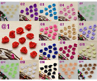 100Pcs Mini Rose Satin Ribbon Small Flowers Wedding Decor Sewing Appliques Craft