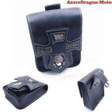 Cross Style PU Leather Side Tool Bag Saddle Luggage Black Universal Motorcycle
