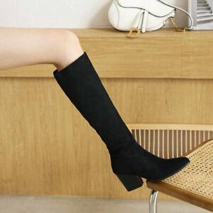 Western Womens Pointed Suede Knee-Length Block Heel High Boots Side Zip Oversize