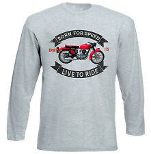 GILERA 175 Sport 1956-Camiseta de Manga Larga Gris-todos Los Tamaños En Stock