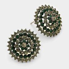 Vintage Gun Metal Esmeralda Diamante Negro Pendientes Cristal Cóctel rocas Boutique