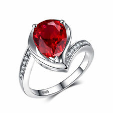 4.9ct Luxury Bright Ruby Pear & Cubic Zirconia Pure Sterling Silver Ring Size 8
