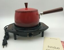 Vintage Electric Cornwall Red Metal Fondue Pot  - The Cortina - 1.5 quart -