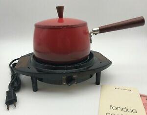 Vintage Electric Cornwall Red Metal Fondue Pot  - The Cortina - 1.5 quart -