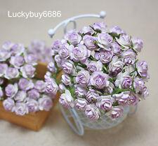 50pcs Purple Rim Rose Scrapbook Craft Mulberry Paper Flower Wedding Decor 12mm