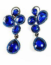EARRING Rhinestone crystal PROM PARTY gemstone Dangle BLACK BLUE NAVY Petal