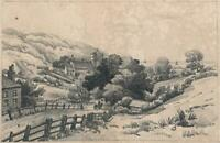 HASTINGS SUSSEX LANDSCAPE Antique Pencil Drawing - 19TH CENTURY - SIGNED