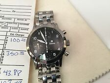 Tutima Flieger Chronograph Pilots Watch Polished Stainless Black 38.5mm 788 Mint