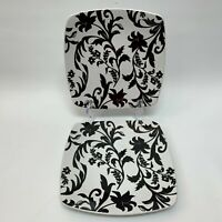 Roscher & Co Provincial Collection Salad Plates Black White Square Lot of 2