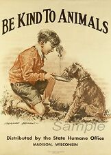 VINTAGE BE KIND TO ANIMALS  A3 POSTER PRINT
