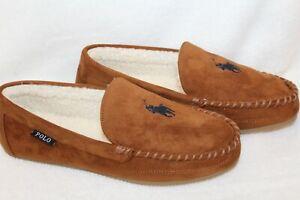 NIB Polo Ralph Lauren Men's Suede Moccasin Slippers Chestnut Brown