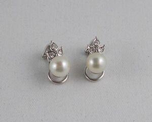 *RAR* Seltene Ohrclips aus 585 Weißgold mit Perlen, Diamanten von 0,275 Ct.