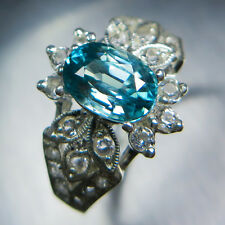 2.20ct Natural Paraiba Blue Zircon & topaz 925 Sterling Silver ring 7, resize
