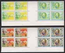 Congo 1979 Einstein/Astronauts 200fr & Bach 200fr SE-TENANT INTERPANNEAU BLOCKS