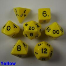 Opaque Poly 7 Dice RPG Set Yellow Pathfinder 5e Dungeons Dragons D&D DND HD